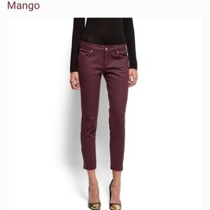 "NWT Mango ""Suit"" slim fit burgundy pant size 2"